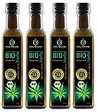 Kräuterland Bio Hanföl, Bio-zertifiziert, 1 Liter (4x 250ml), kaltgepresst, 100% naturrein, rein nativ, Premium Qualität, Frischegarantie: mühlenfrisch direkt vom Hersteller Kräuterland