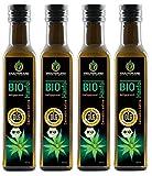 Kräuterland - Bio Hanföl 1 Liter (4x250ml) - 100% rein, hoher Anteil an Omega 3-6-9 Fettsäuren, kaltgepresst, vegan in Premium Qualität - Frischegarantie: mühlenfrisch direkt vom Hersteller