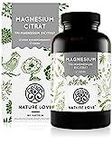 NATURE LOVE Premium Magnesiumcitrat - 2250mg (360mg elementar) Magensium je Tagesdosis - 180 Kapseln - Hochdosiert, laborgeprüft, ohne Zusätze, vegan & in Deutschland produziert